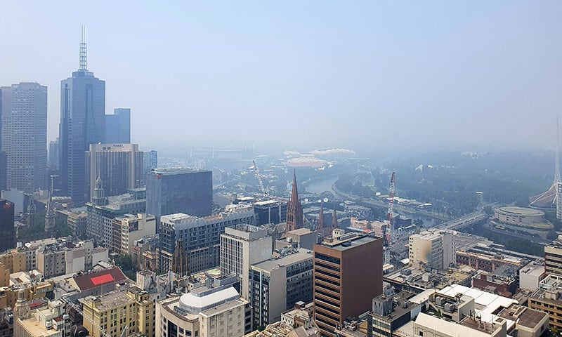 Smoke from the Victoria bushfire fills the sky over Melbourne city on January 14, 2020. — AFP
