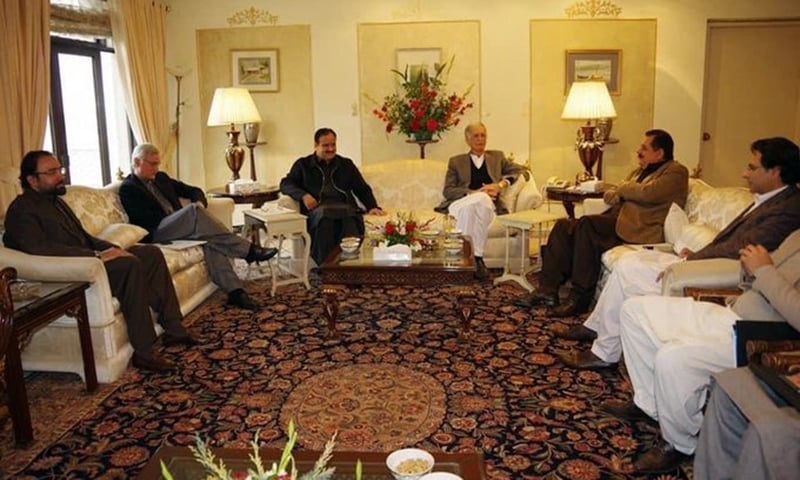 PTI delegation met PML-Q to allay its reservations. — Photo provided by Sanaullah Khan