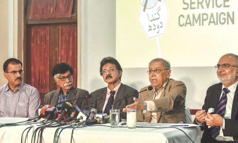 Dr Tipu Sultan speaks at a presser organised at the PMA House on Wednesday. —White Star