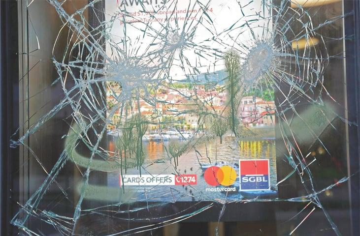 BEIRUT: A branch of Societe Generale bank that was vandalised.—AFP