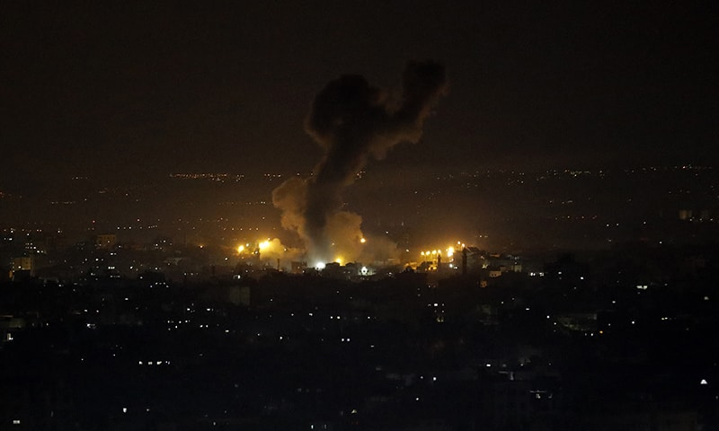 An explosion caused by Israeli airstrikes is seen on Gaza City, on Wednesday. — AP