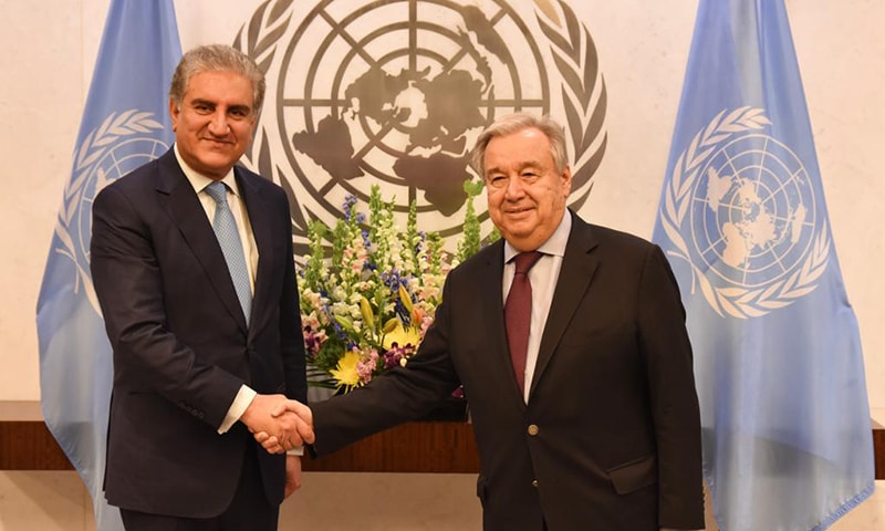 Foreign Minister Shah Mehmood Qureshi meets United Nations Secretary General Antonio Guterres in New York on Wednesday. — Photo courtesy Foreign Office