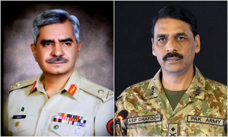 Maj Gen Babar Iftikhar (L) has replaced Maj Gen Asif Ghafoor as the new DG ISPR. — Photo courtesy ISPR