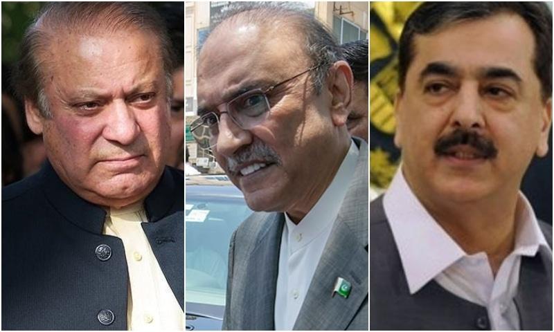 (L-R) Former PM Nawaz Sharif, ex-president Asif Ali Zardari and former PM Yousuf Raza Gillani. — AFP/AP/File