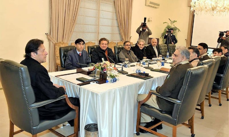 ISLAMABAD: Prime Minister Imran Khan chairing the meeting on Kashmir.—PPI