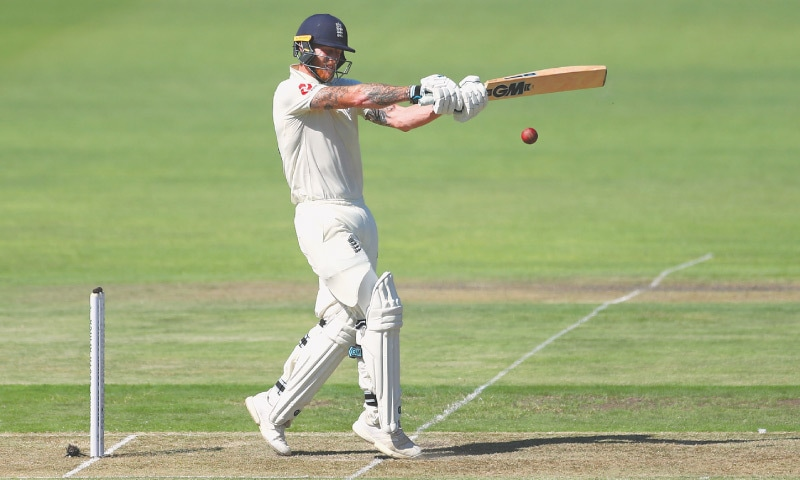 ENGLAND Ben Stokes plays a pull shot during the third Test against South Africa at St George's Park on Thursday.—Reuters