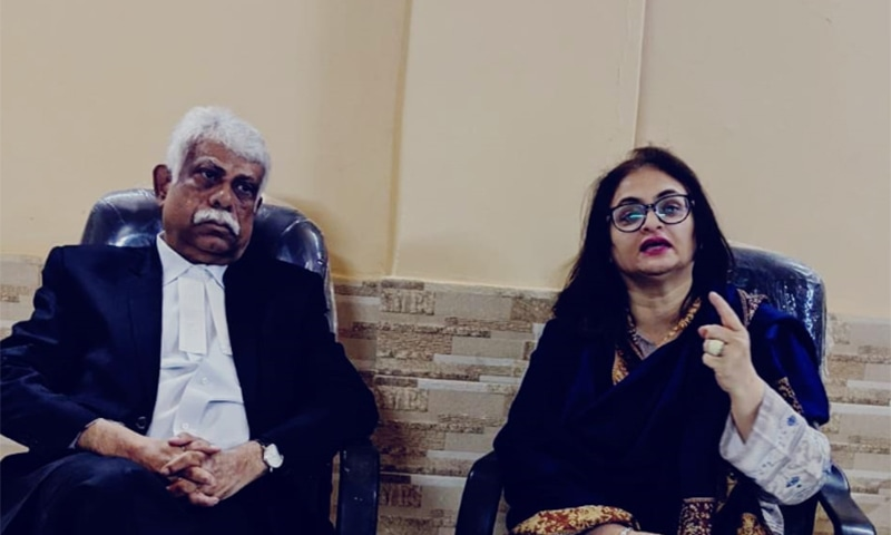 Senior journalist Lubna Jerar Naqvi and Supreme Court Advocate Shoaib Ashraf at the CFWIJ event. — Photo courtesy Coalition For Women In Journalism