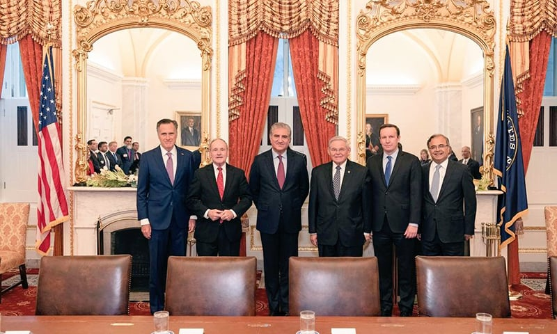Foreign Minister Shah Mehmood Qureshi meets with US senators in Washington on Thursday. — Photo courtesy Shah Mehmood Qureshi
