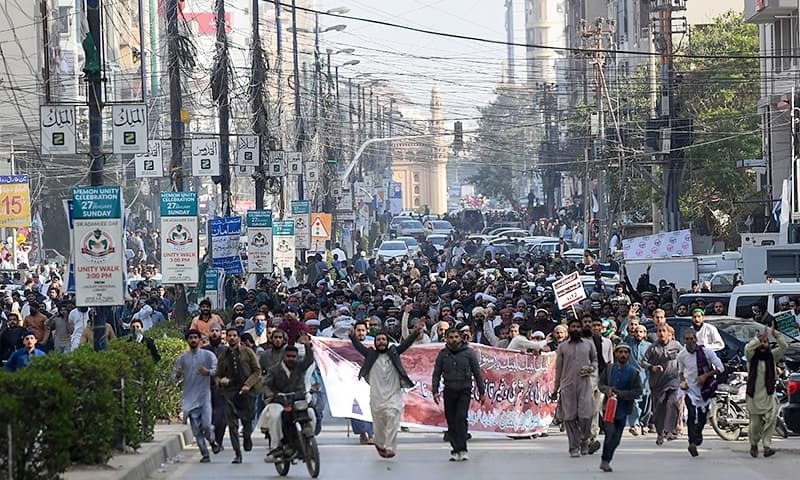 The workers were convicted in a case pertaining to rioting and resisting against the police after the arrest of Khadim Hussain Rizvi. — AFP/File