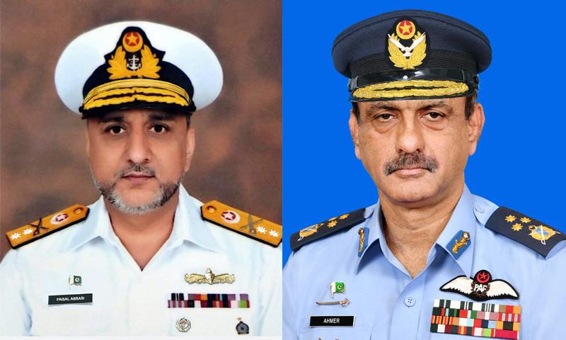 احمر شہزاد لغاری کو پاکستان فضائیہ کے نائب سربراہ جبکہ کموڈور محمد فیصل عباسی کی ریئرایڈمرل کے عہدے پر ترقی دی گئی— فوٹو: بشکریہ پاک فضائیہ/ پاک بحریہ