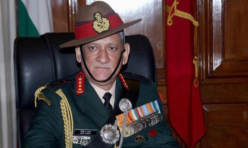 جنرل بپن راوت نے کشمیوں بچوں میں انتہا پسندی کے رجحان کے خاتمے کے لیے انہیں کیمپوں میں بھیجنے کا بیان دیا تھا — فائل فوٹو / اے پی