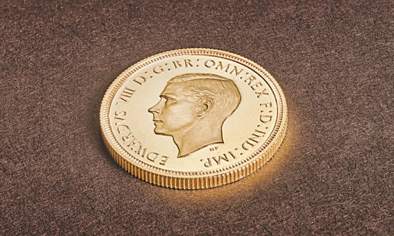 LLANTRISANT: The rare sovereign coin seen  at the Royal Mint in Wales.—Reuters