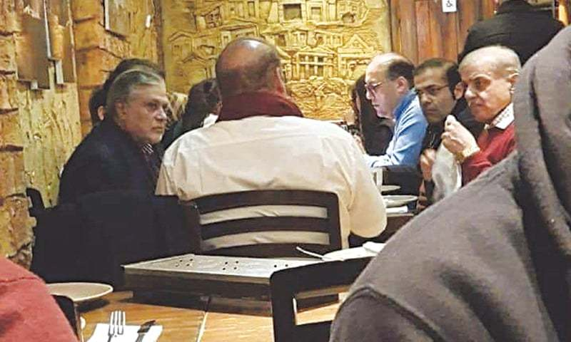 A photo that went viral on social media appears to show PML-N supremo Nawaz Sharif, Shahbaz Sharif, Hasan Nawaz, Salman Shahbaz and Ishaq Dar at a London restaurant. — File