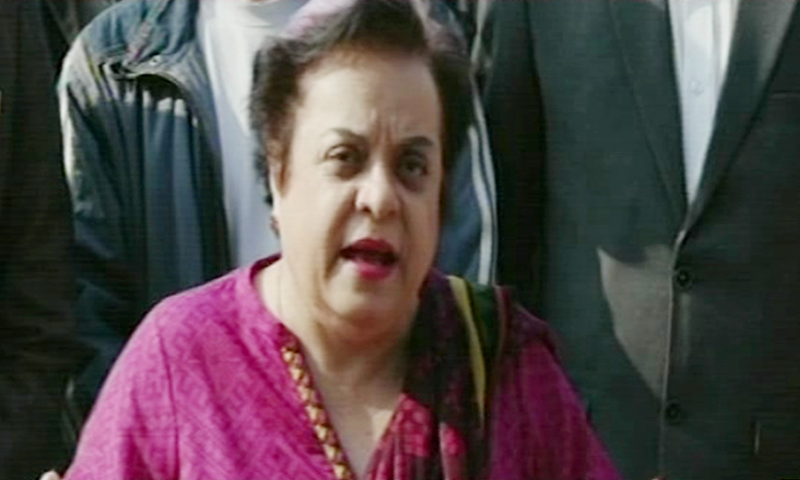 Human Rights Minister Shireen Mazari speaks to media outside IHC. — DawnNewsTV