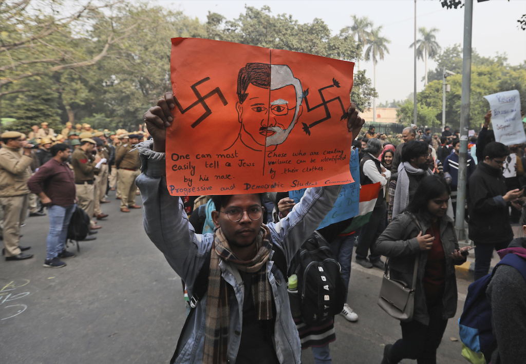 Students march through the streets of New Delhi, on December 24, 2019, to protest a new citizenship law | AP