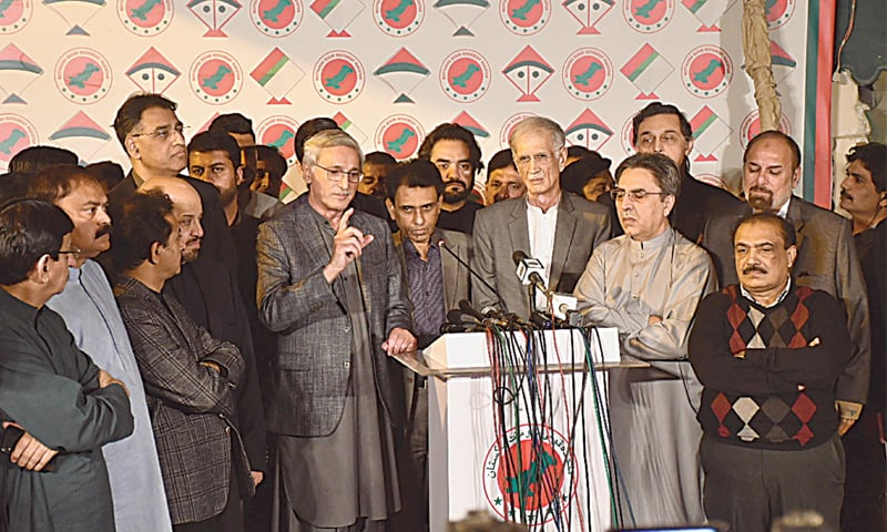 PTI and MQM-P leaders talking to media after their meeting on Saturday.