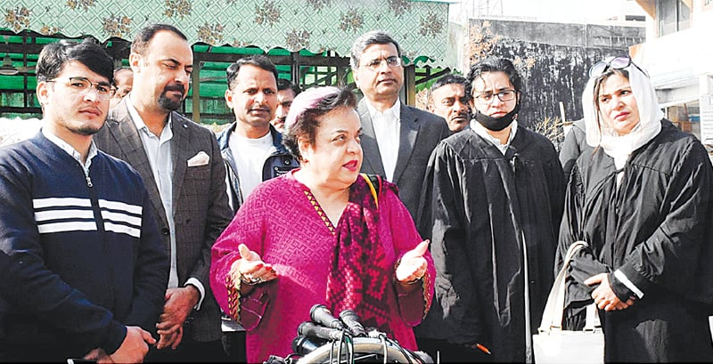 FEDERAL Minister for Human Rights Dr Shireen Mazari speaks to reporters outside the Islamabad High Court on Saturday.—APP