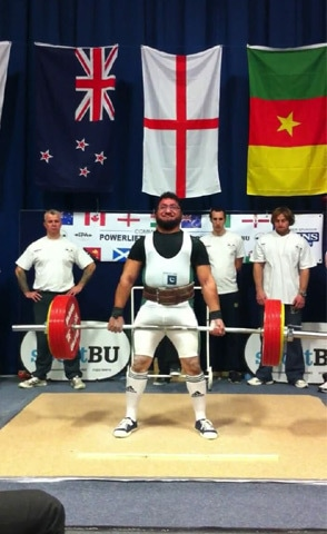 Competing in the 255kg dead-lift during the Asia/Oceania Championship in Australia in 2014