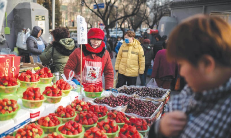 A VENDOR sells strawberries at a market in Beijing on Friday. China's economy weakened to its slowest pace in three decades in 2019 as weaker domestic demand and trade tensions with the United States took their toll, official data showed. The 6.1 per cent rate is a sharp drop from the 6.6pc the year before and marks the third straight drop, though it met the government's target and analysts said leaders were unlikely to open up the stimulus taps just yet.—AFP