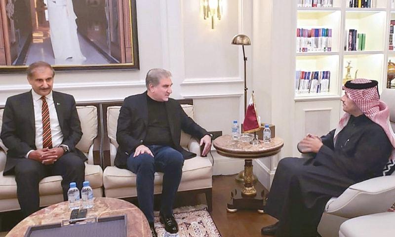 DOHA: Foreign Minister Shah Mehmood Qureshi in a meeting with his Qatari counterpart Sheikh Mohammad bin Abdulrahman Al Thani.—INP