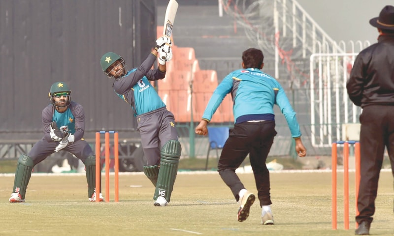 LAHORE: Pakistan cricketers in action during a practice match at their training camp at the Gaddafi Stadium on Sunday.—M.Arif/White Star