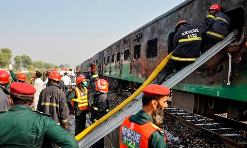 Wooden rail sleepers 'scrap' burnt in Gujranwala