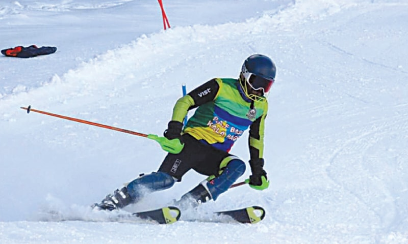 NALTAR: A skier in action during the World Snow Day contest held here on Monday.