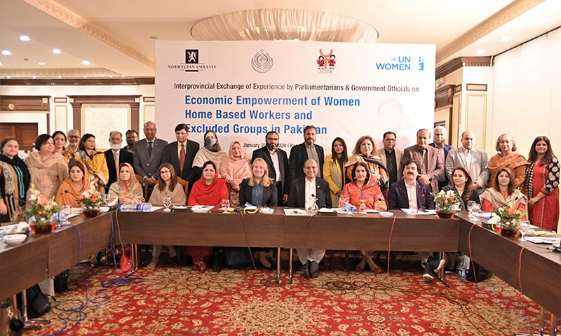 Speakers at a two-day inter-provincial exchange of experiences by parliamentarians and senior government officials on the economic empowerment of home-based workers (HBWs) organised by the UN Women Pakistan and the Sindh Labour and Human Resource Department. — Photo courtesy UN Women