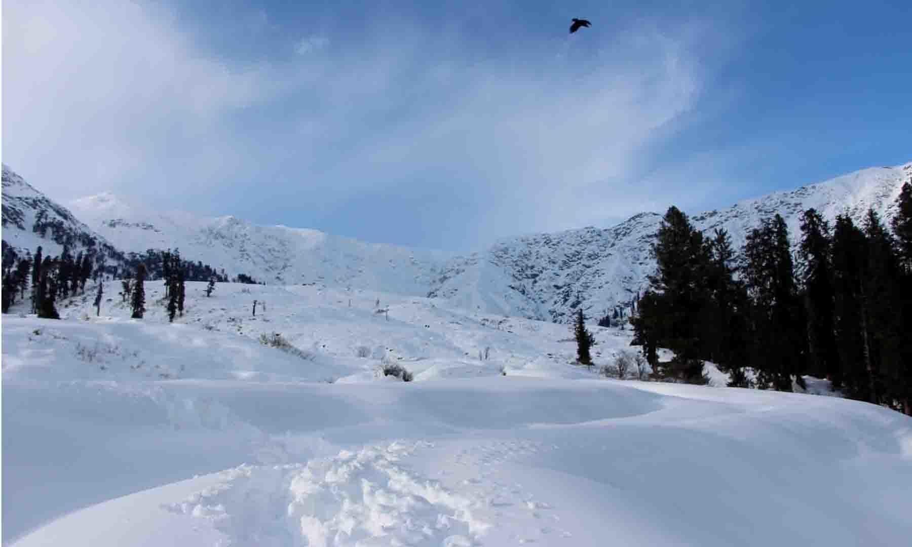 ماہِ جنوری کی تازہ ترین تصویر، گبین جبہ نے برف کی سفید چادر سر پر تنی ہے