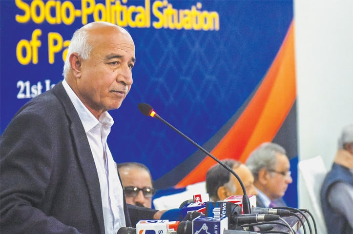 DR Abdul Malik Baloch speaks at the event on Tuesday.—White Star