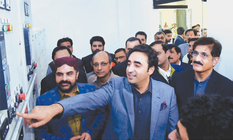Bilawal Bhutto-Zardari inaugurates the pump house at Dhabeji on Tuesday.—PPI