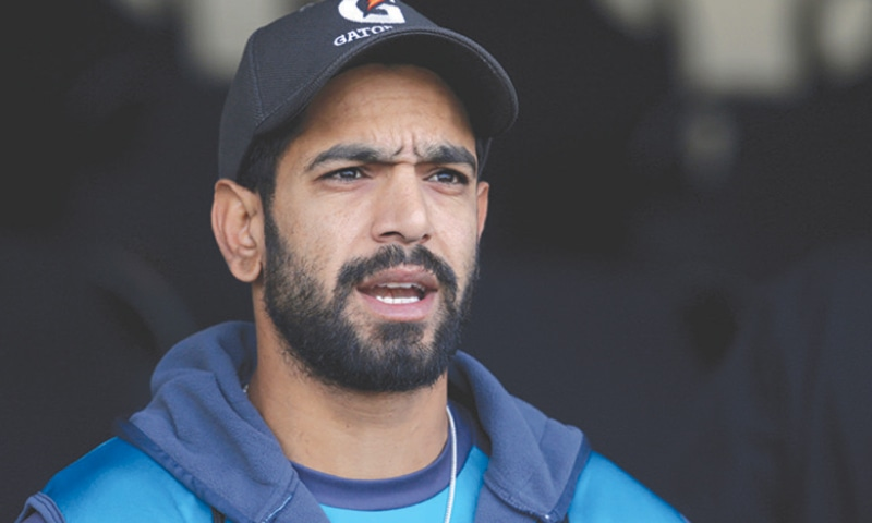 PACEMAN Haris Rauf talks to media on Tuesday.—AP