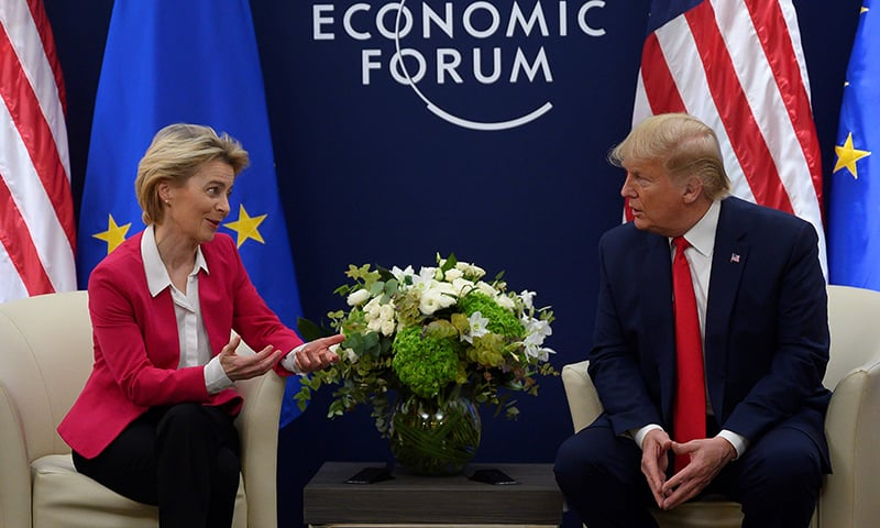 US President Donald Trump speaks with European Commission President Ursula von der Leyen prior to their meeting at the World Economic Forum in Davos, on January 21, 2020. — AFP