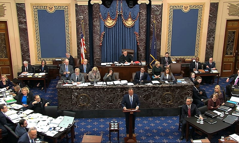 In this image from video, impeachment manager Rep. Adam Schiff, D-Calif., argues in favor of amendment regarding selective admission of evidence and handling of classified material that was offered by Senate Minority Leader Chuck Schumer, D-N.Y., during the impeachment trial against President Donald Trump in the Senate at the US Capitol in Washington on Tuesday, January 21, 2020. — AP
