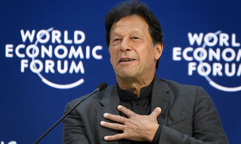 Prime Minister Imran Khan delivers a speech at the World Economic Forum (WEF) annual meeting in Davos, on January 22. — AFP