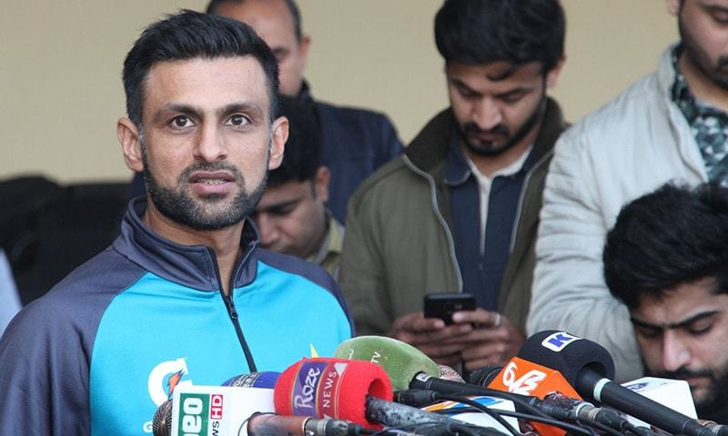 Shoaib Malik addresses a press conference at the Gaddafi Stadium in Lahore on Wednesday. — Courtesy PCB Twitter