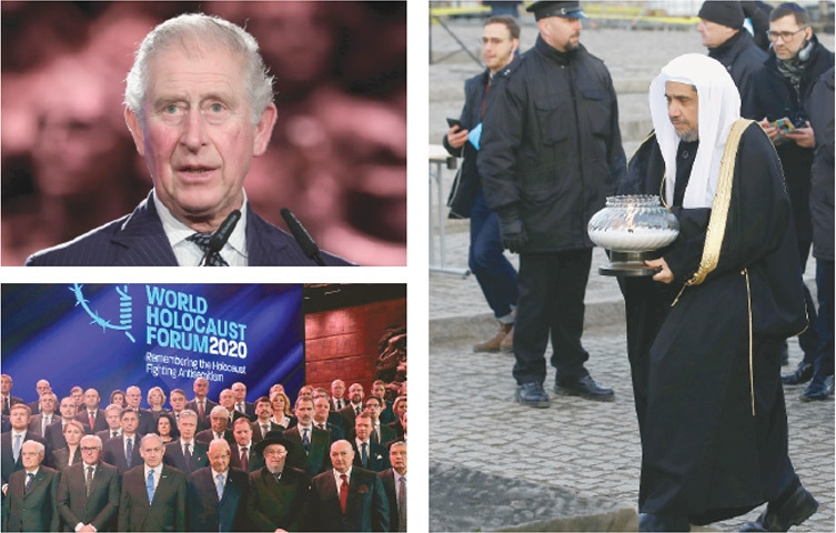 JERUSALEM: Britain's Prince Charles (top left) speaks at the Fifth World Holocaust Forum on Thursday at the Yad Vashem museum, where other world leaders (below left) gathered to mark 75 years since the Soviet army liberated Auschwitz. Mohammad bin Abdul Karim Al Issa, Secretary General of the Muslim World League, carries a candle (right) during his visit to the former Nazi death camp in Brzezinka, Poland.—Agencies