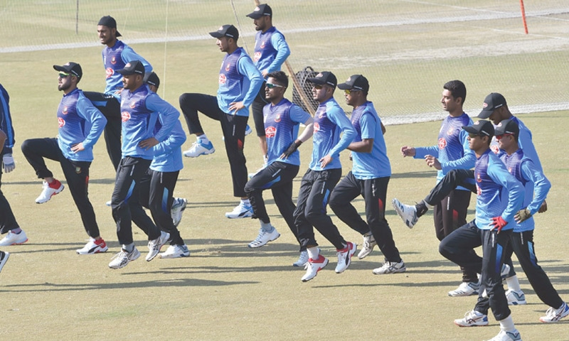 LAHORE: Bangladesh players take part in a training session at the Gaddafi Stadium on Thursday.—M. Arif/White Star