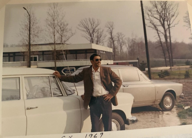 A young Ahmed with his Mercedes that he used for the road trip | Photos by the writer