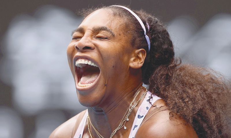 SERENA Williams reacts during her third-round match against Qiang Wang on Friday.—Reuters