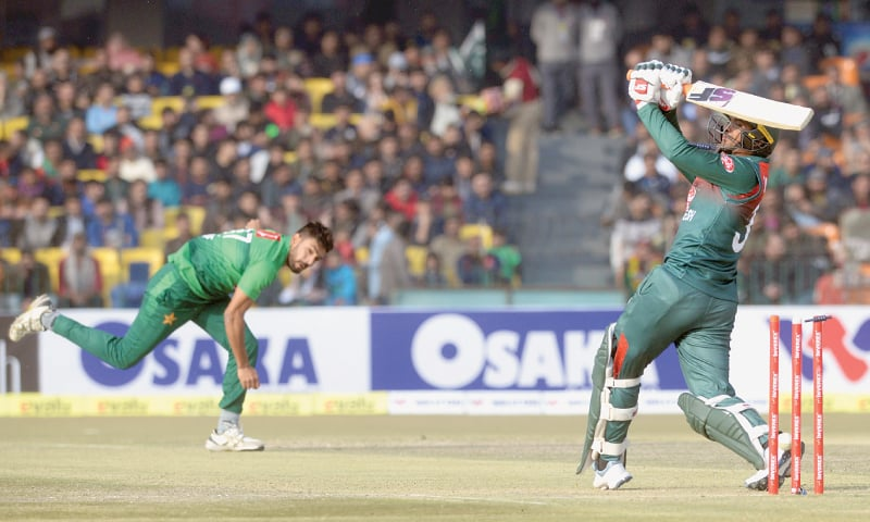 LAHORE: Bangladesh skipper Mahmudullah is bowled by a express delivery from Haris Rauf here on Saturday.—White Star