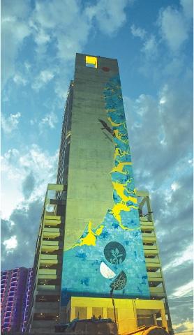 KARACHI: The 286-foot-tall mural on the TPL Tower.—Fahim Siddiqi / White Star