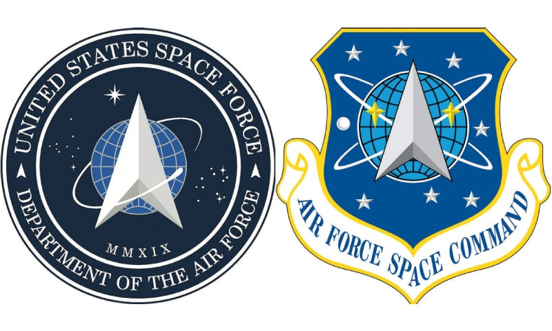 This combination of pictures shows the new logo (left) for the United States Space Force and the logo for the Air Force Space Command.—AFP