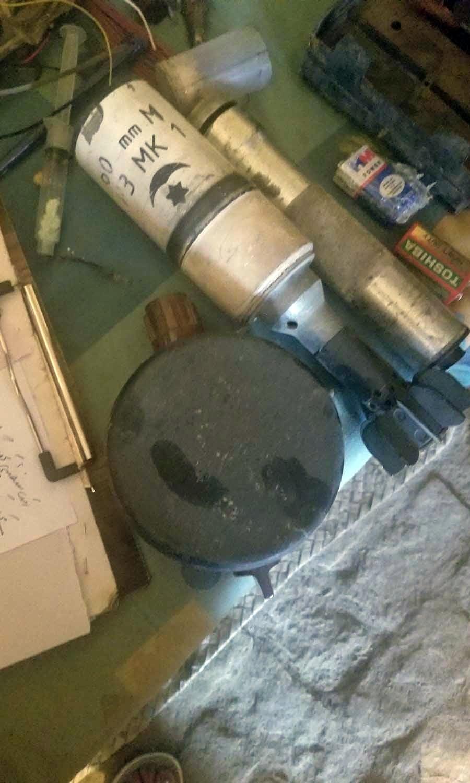 A Soviet-era landmine shaped like a water bottle.