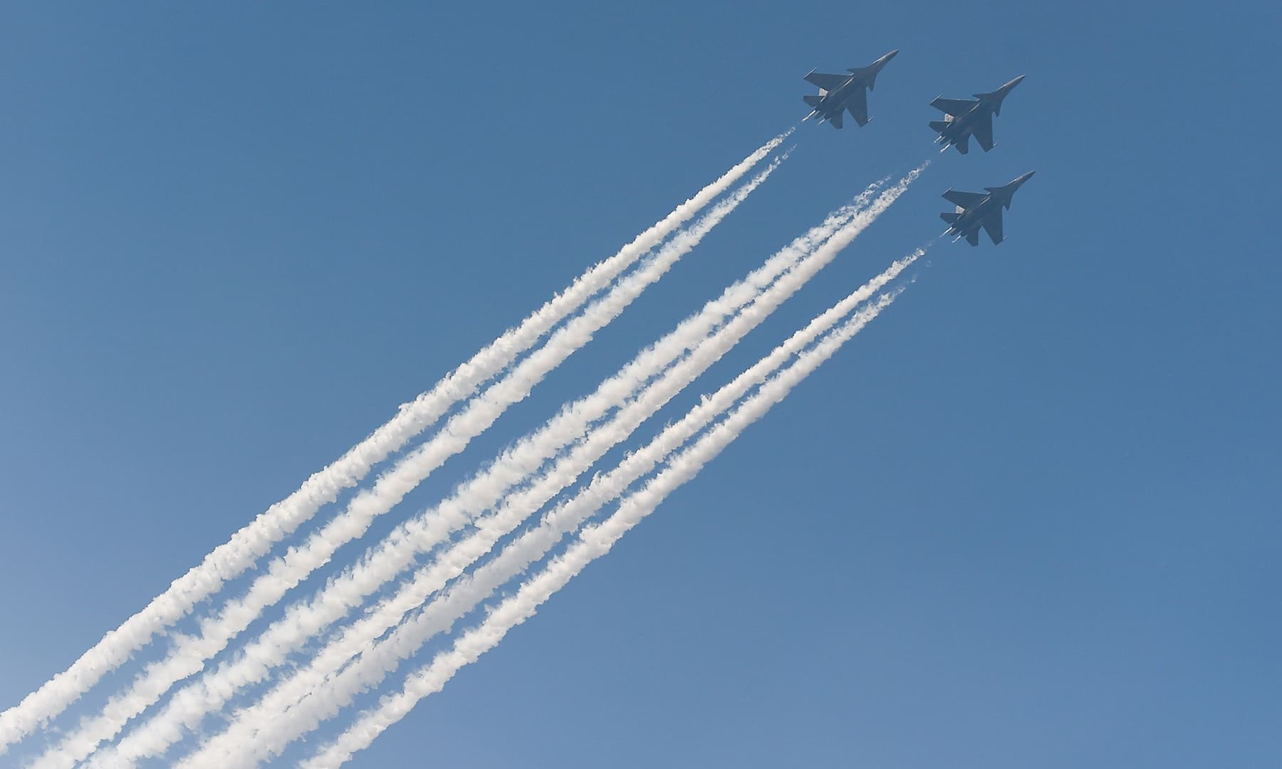 Indian Air Force's 'Jaguar' fighter jets flyover Rajpath during the Republic Day parade in New Delhi on January 26. — AFP