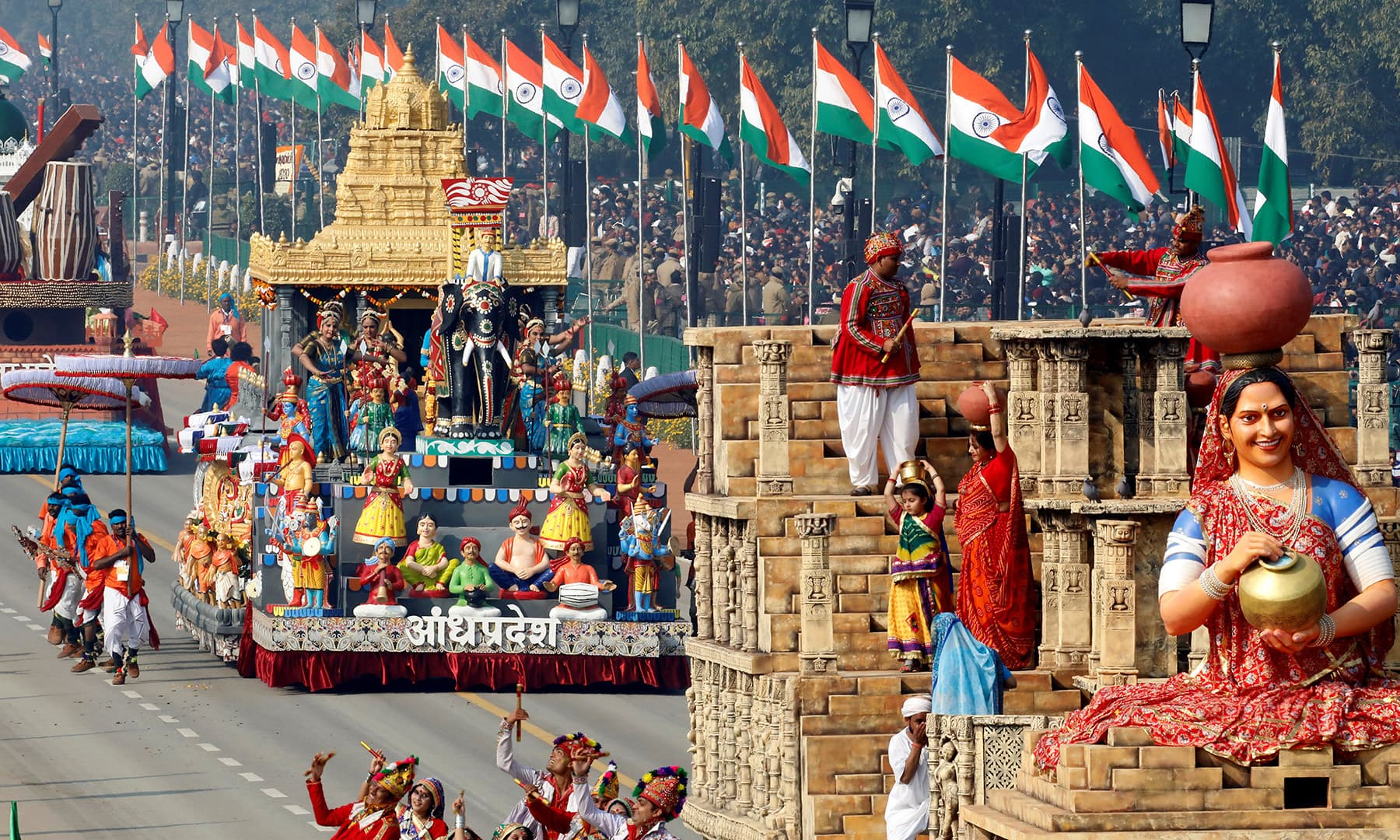 Tableaus from Gujarat and Andhra Pradesh states are displayed during India's Republic Day parade in New Delhi, India, January 26. — Reuters