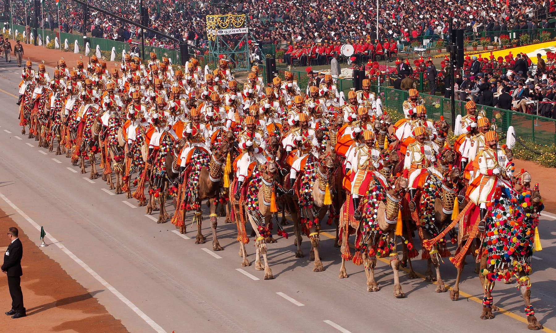 Indian Border Security Force soldiers ride their camels during India's Republic Day parade in New Delhi, India. — Reuters
