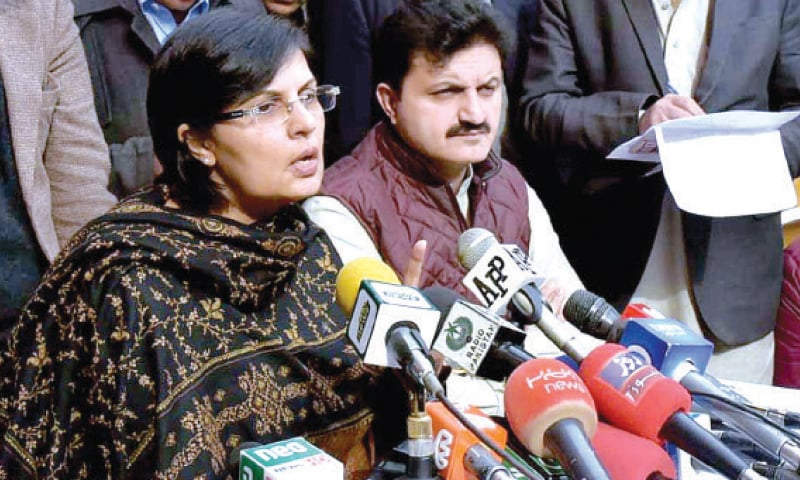 Special assistant to prime minister Dr Sania Nishtar addresses a presser in Peshawar on Monday. — APP