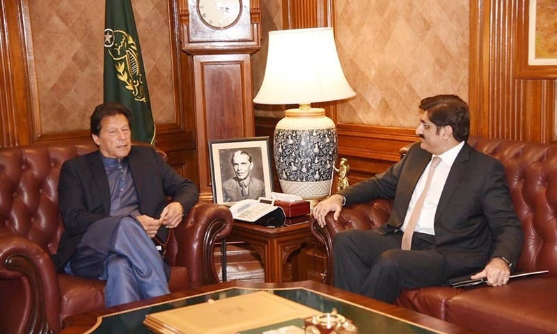 Chief Minister Sindh Murad Ali Shah calls on Prime Minister Imran Khan in Karachi on January 27. — Photo courtesy PID