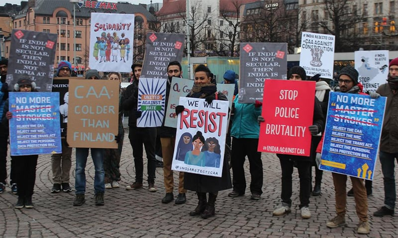 A protest in Helsinki against the Citizenship Amendment Act on December 21. — Vicky Moga